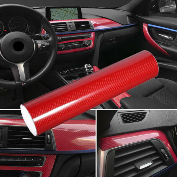 5D Ultra Shiny Gloss Glossy Red Carbon Fiber Vinyl Wrap Sticker Decal 12quot;x60quot; $10.84
