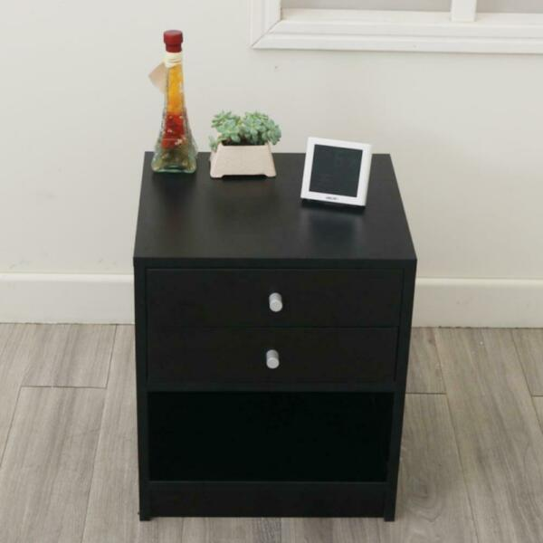 Night Stand Bedroom End Table Bedside Furniture 2 Drawer Sturdy Storage