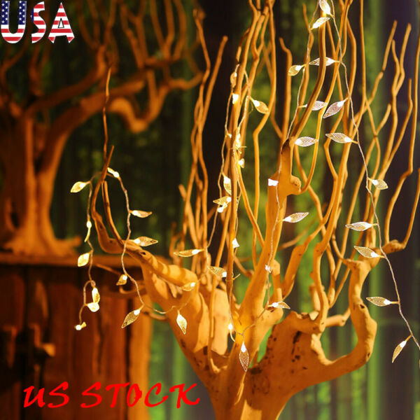 Battery Operated Leaves Pearls Shape LED String Light Xmas Party Home Decoration