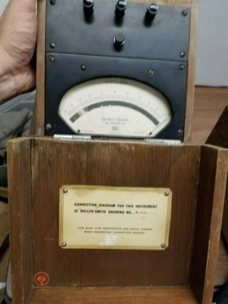 BROADCAST ANTIQUE  ROLLER-SMITH CO. Frequency Panel Meter Steampunk Wood Case