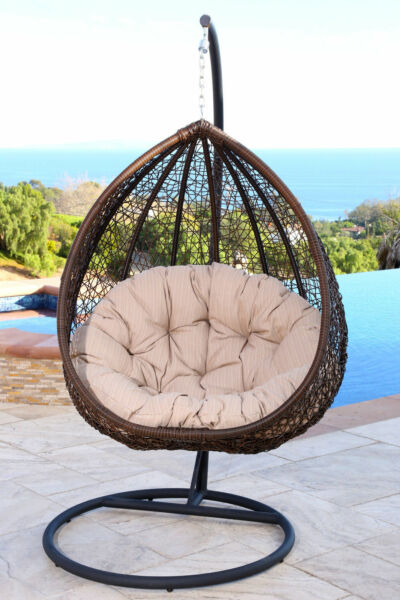 Swing Chair with Stand Hammock Hanging Porch Outdoor Patio Seat Lounge Canopy