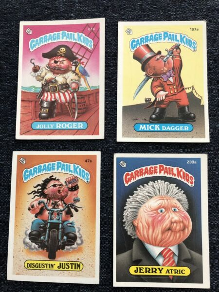 Garbage pail kids cards set of four highly collectible numbers