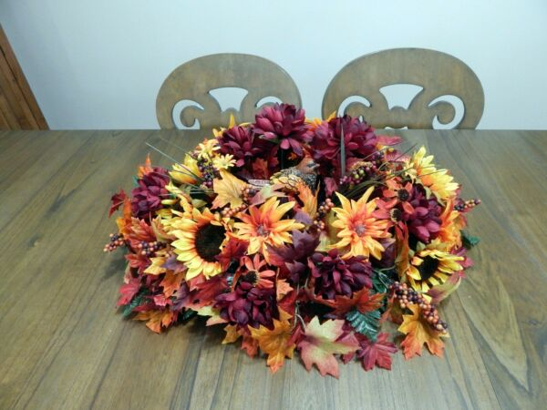 Deluxe Fall Bird AutumnWinter Floral TabletopMantle Centerpiece 30 Inches