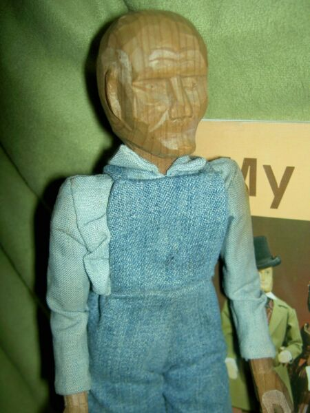Antique 1930 Pleasant Hill Academy carved wood primitive Appalachian male doll