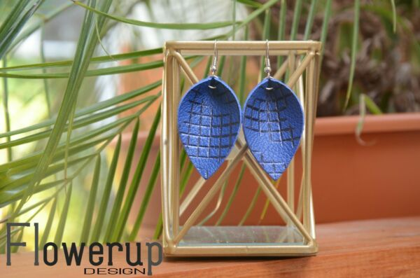 Handmade lightweight blue black pinched leaf real leather statement earrings