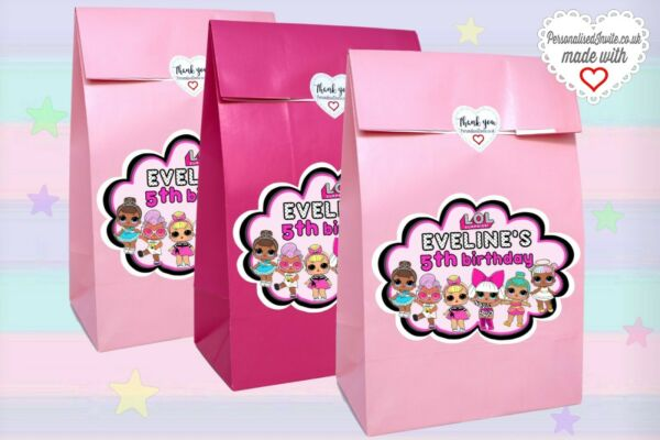 6x personalised or not LOL Surprise dolls birthday party bags for sweets favors