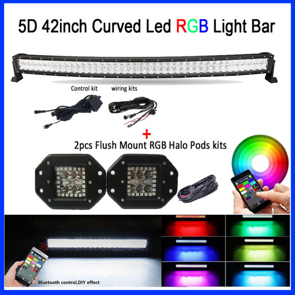 42inch 5D RGB LED Curved Light Bar Combo Bluetooth+ 2x 5