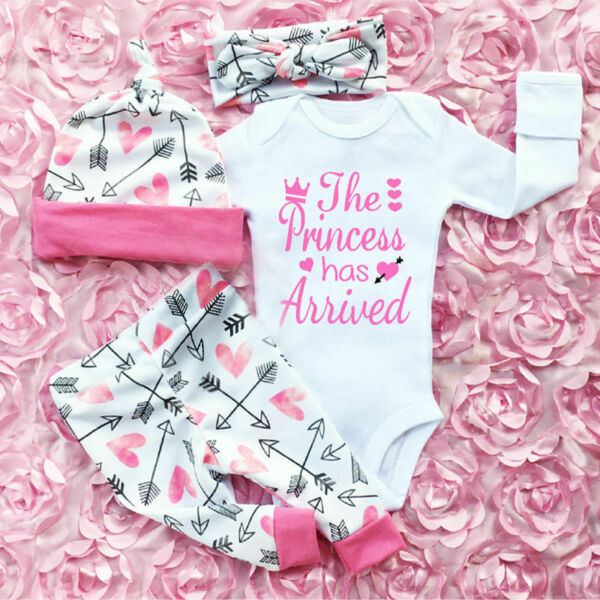 4PCS Newborn Infant Baby Girl Outfits Clothes Set Romper Bodysuit+Pants Leggings