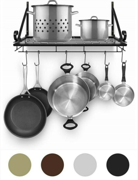 Sorbus Kitchen Wall Pot Rack with Hooks — Decorative Wall Mounted Storage... $34.95