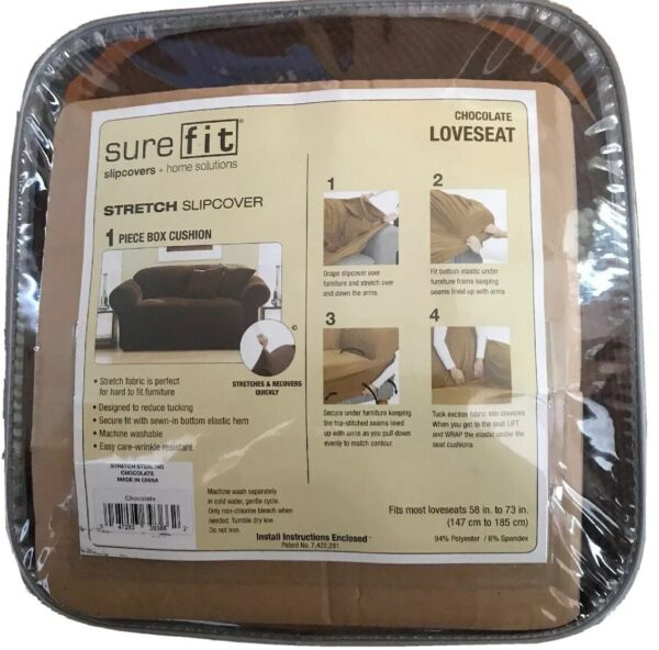 Surefit Slipcover Chocolate Brown Color Loveseat Stretch Slipcover $104.50