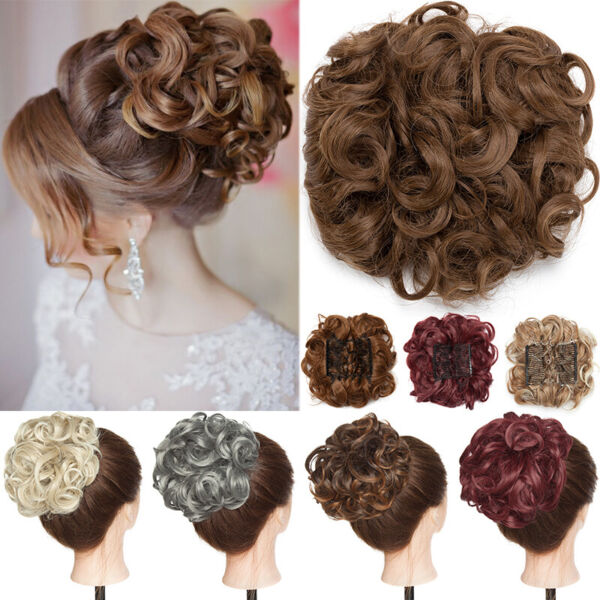 Real Thick Messy Bun Scrunchy Hair Piece Natural Chignon Extension For Human 90g