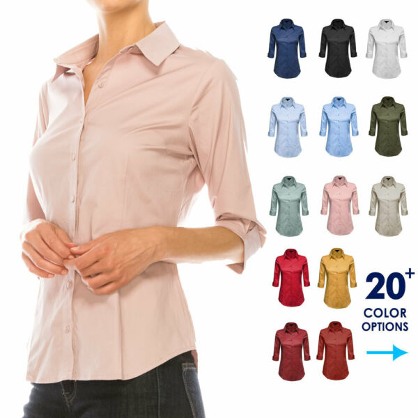 Women Button Down Shirt Blouse 3 4 Sleeve Collared Office Work Dress Top Plus $18.99