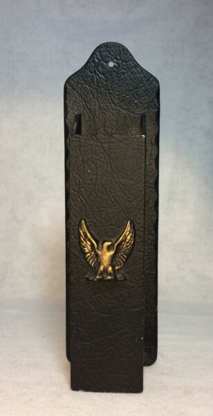 Vintage Fireplace Match Holder Black Wall Vase Mount Eagle Freedom