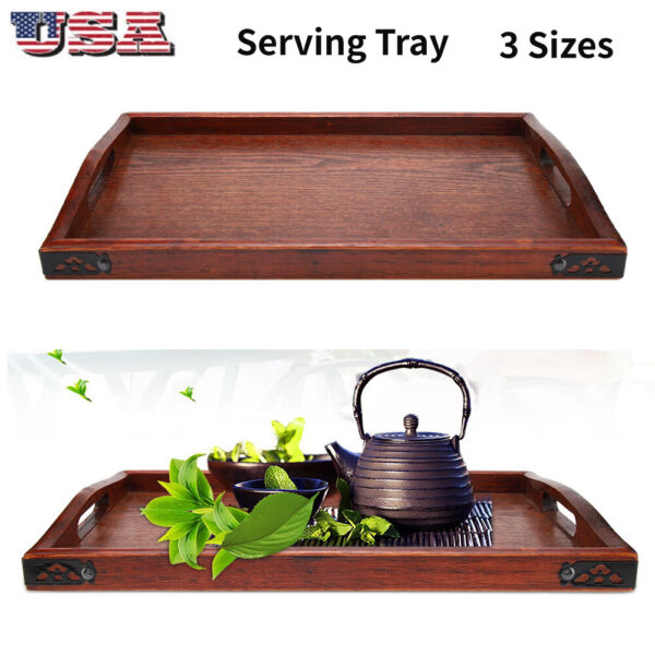 Multi-purpose Wooden Serving Tray Plate for Tea Set Fruits Food Home Hotel