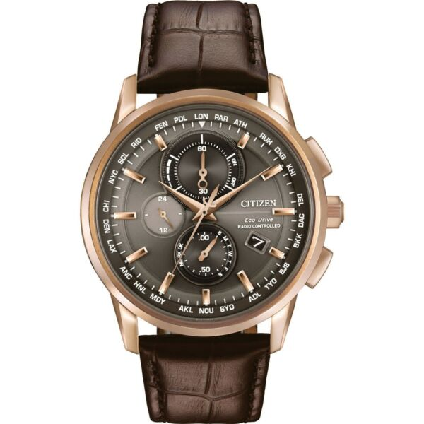 Citizen Men's Rose Gold Tone Leather World Time A-T Chronograph Watch H40-3118TA