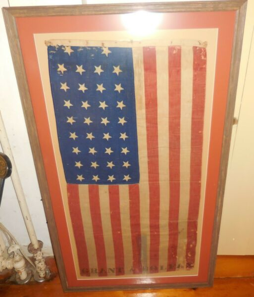 34 Star Grant & Colfax Vintage American Antique Flag Matted and Framed