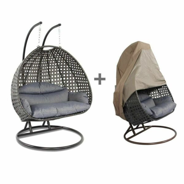 2 Person Outdoor Hammock Hanging Wicker Swing Chair Rattan Egg Swing Chair