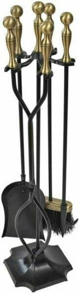 5 Pieces Fireplace Tools Sets Brass Handles Wrought Iron Fire Place Bronze