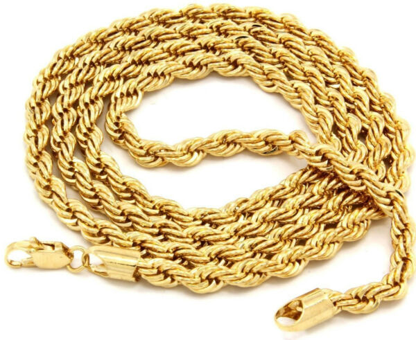 14k Gold plated rope chain men#x27;s women#x27;s 24quot; inches necklace free shipping new