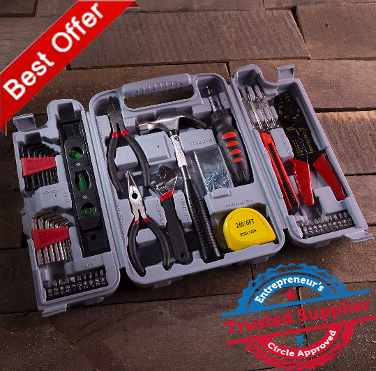 NEW Stalwart 130 Piece Household Hand Tool Set General Home Repair Kit