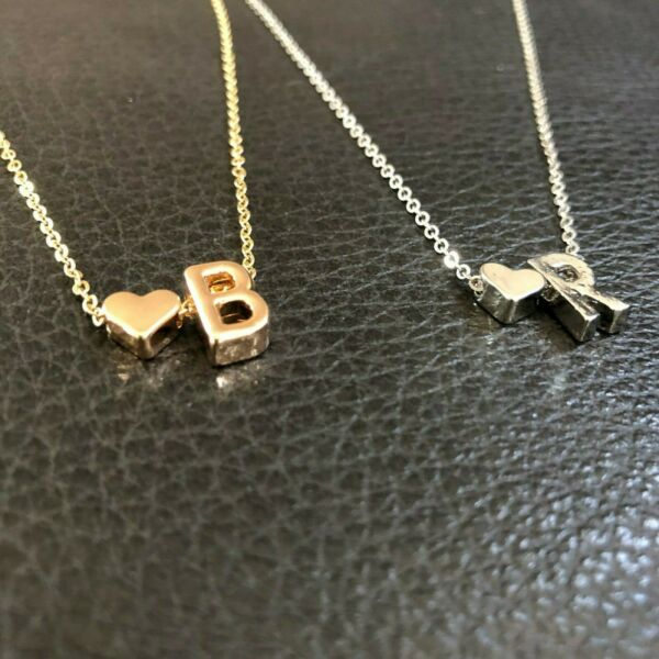 ANNIVERSARY BIRTHDAY GIFT HER Initial Letter Heart Gold  Silver plated Necklace