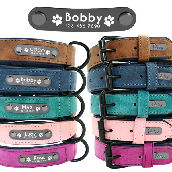 Personalized Dog Leather Collar Metal ID Engrave Name Tag for Small to Large Dog $15.99