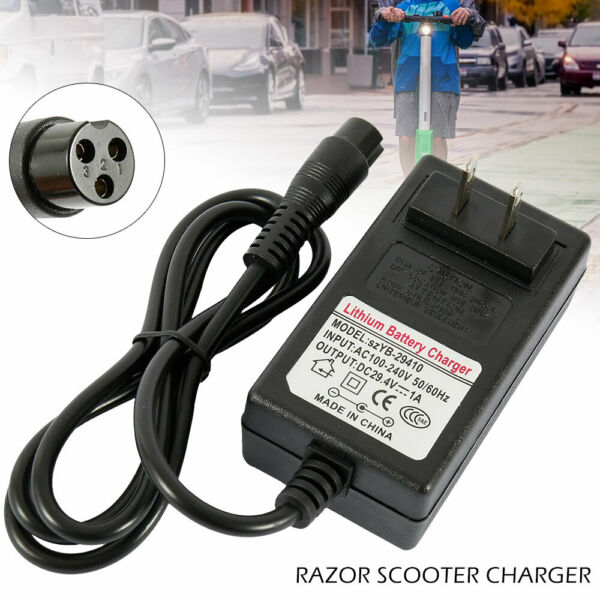 24V for Razor Electric Scooter Battery Charger e100 e125 e150 3.3 FT Power Cord