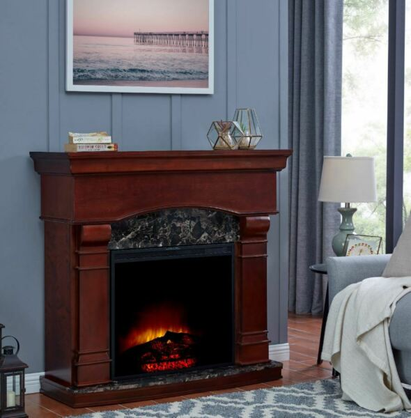 Elec Fireplace Heater Large Electric Fire Place Clearance Mantel LED Flames Home