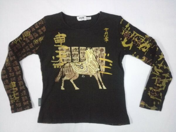 Moschino Jeans Couture Gold All Over Printed T SHIRT Italy Women Girl $50.00