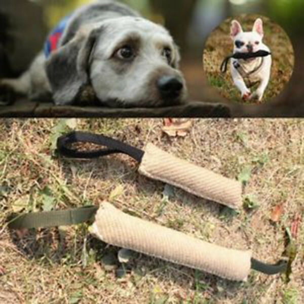 Handles Jute Police Young Dog Bite Tug Play Toy Pet Training Chewing Arm Sleev.
