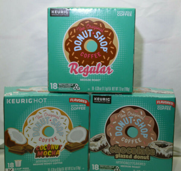 18 KEURIG Flavored Coffees K CUP Pods Collection. The Original Donut Shop