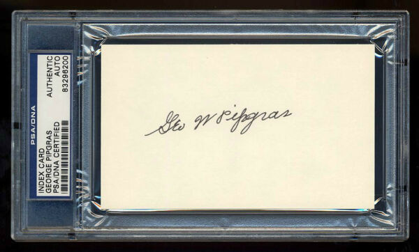 GEORGE PIPGRAS SIGNED INDEX CARD MINT PSADNA SLABBED 1927 NEW YORK YANKEES WSC