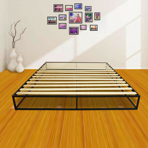 King Size Bed Frame Simple Basic Iron Metal Black for Home Room Furniture NEW