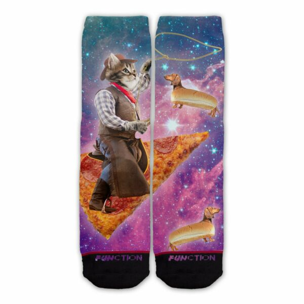 Function Pizza Space Cowboy Cat Fashion Socks With Hot Dog Dachshunds Funny $12.95
