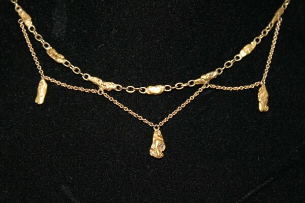 VTG Alaskan Gold Nugget Station Necklace Festoon