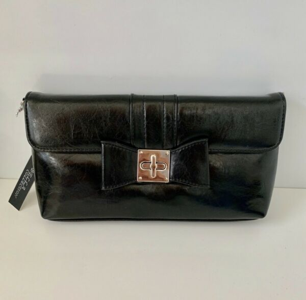 Bella Collection Black Clutch Handbag With Bow NWT