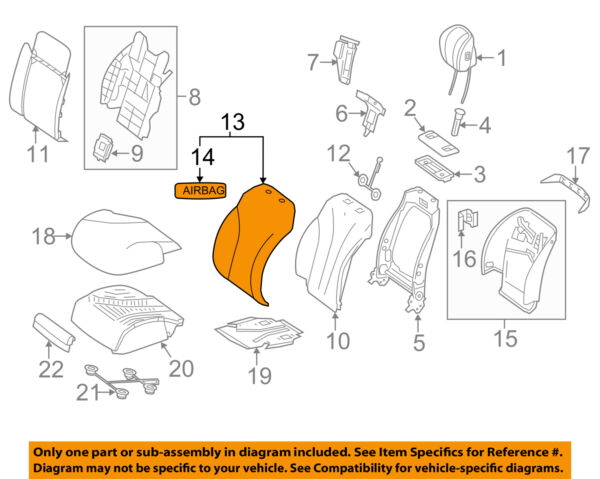 MERCEDES OEM 14-17 S550 Driver Seat-Seat Back Cover 22291005168Q58