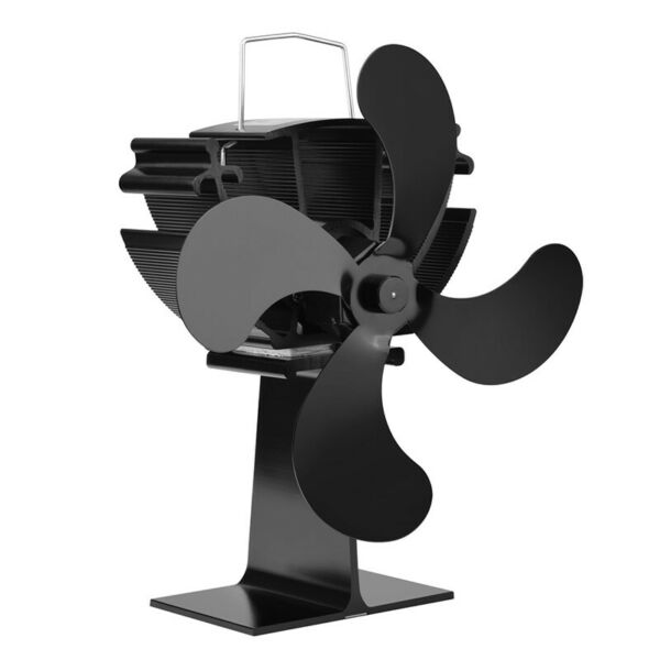 4-Blade Heat Powered Wood Stove Fan Eco-Friendly Fan Efficient Heat Distribution