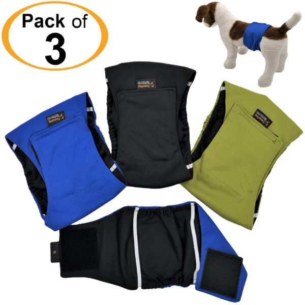 PACK of 3 LEAK PROOF Male Dog Diapers Belly Band Wrap Washable XS S M L XL $13.99