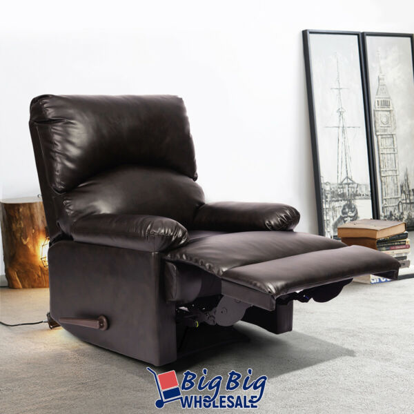 Leather Sofa Recliner Single Couch Reclining Chair Home Room Lay Theater Seating $289.99