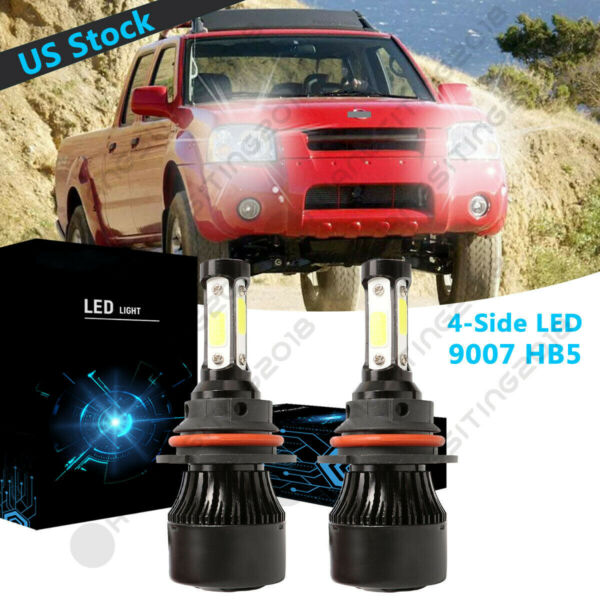 4 Side 9007 HB5 LED Headlight Bulb High Low Beam For Nissan Frontier 2001 2004