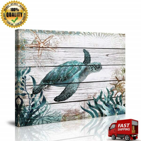 Bathroom Wall Decor Ocean Sea Wall Art Green Turtle Pictures Artwork Painting