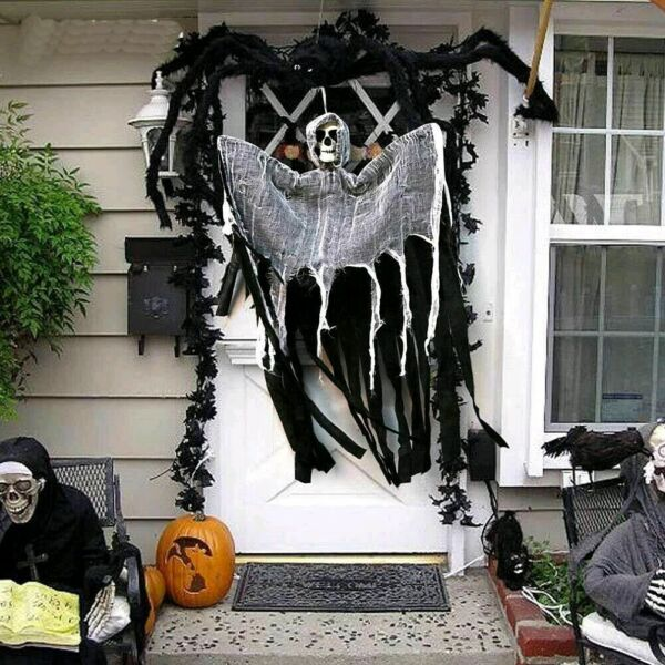 Hanging Ghost Floating Reaper Skull Halloween Decor IndoorOutdoor Grim New