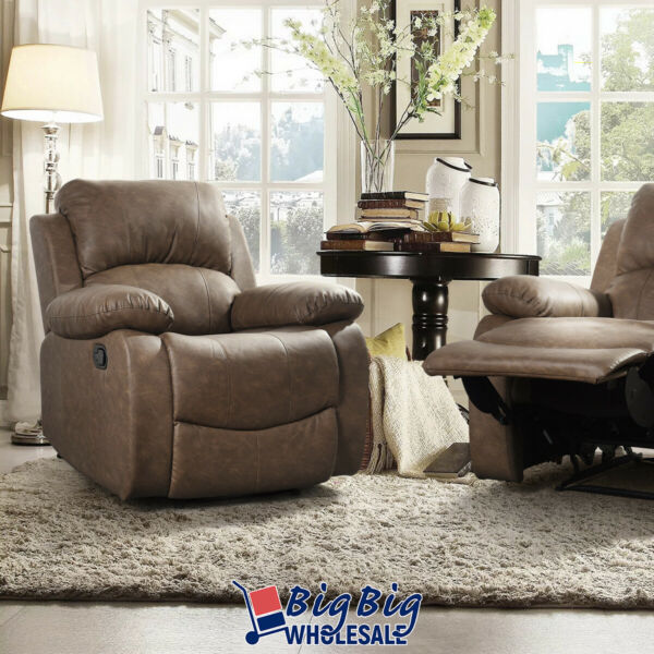 Brown Leather Recliner Chair Single Couch Recliner Sofa Pad Home Theater Cushion $269.99