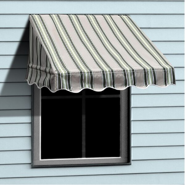 ALEKO Window Awning Door Canopy Decorator 6x2ft Shade Multiple Stripes Green