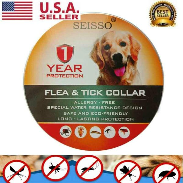 DEWEL Seisso Flea And Tick Control Collar for Medium Large Dog 1 Year Protection $9.99