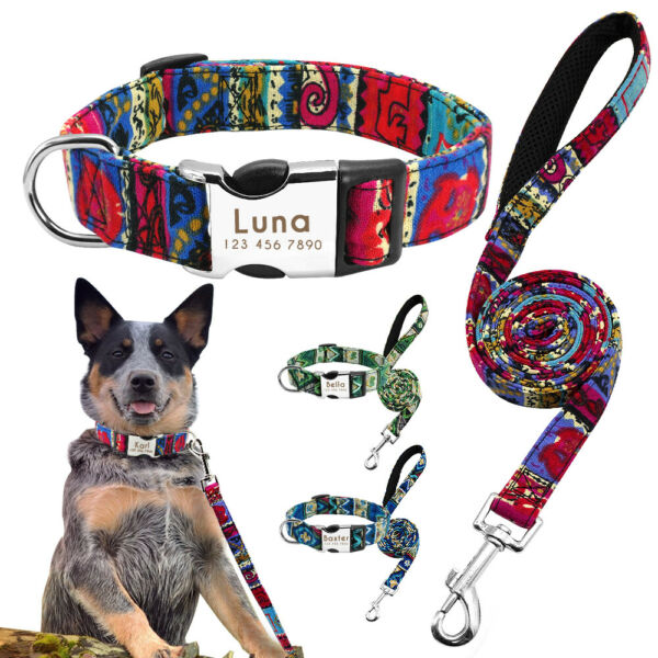 Dog Personalized Collar and Leash set Custom Name ID Tag Small to Large Dog Rope $11.99