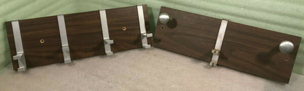 2 Vintage Retro Aluminum Hooks and Wood Wall Mounted Coat Racks 18 x 6 x 3 3 4quot; $20.00
