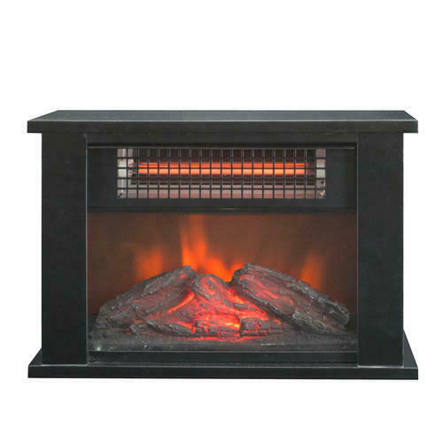 Black Tabletop Electric Fireplace Infrared Realistic Log Flame Small Desk Heater