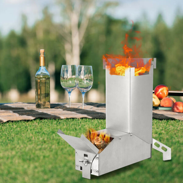 Outdoor Collapsible Wood Burning Stainless Steel Rocket Stove Camp Stove US U5L1